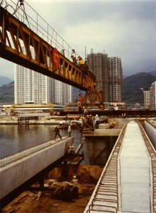 Shatin Bridge beam placing