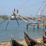 Chinese Fishing nets being erected, Cochin, Kerala